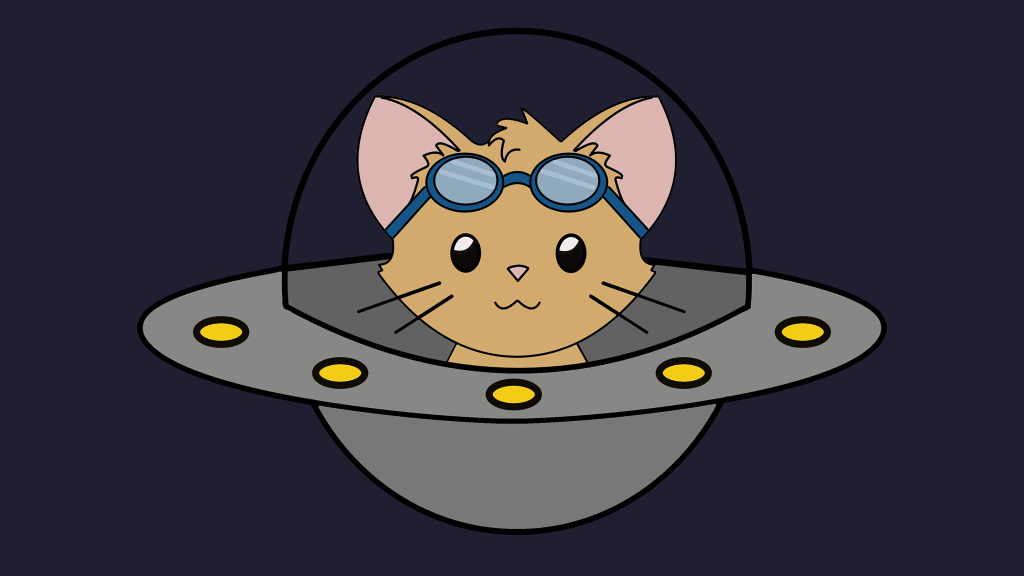 Mewteor logo: A cat sitting inside a UFO with goggles sitting on its forehead.
