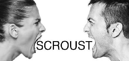 Scroust Title: Two people on either side yelling towards each other.