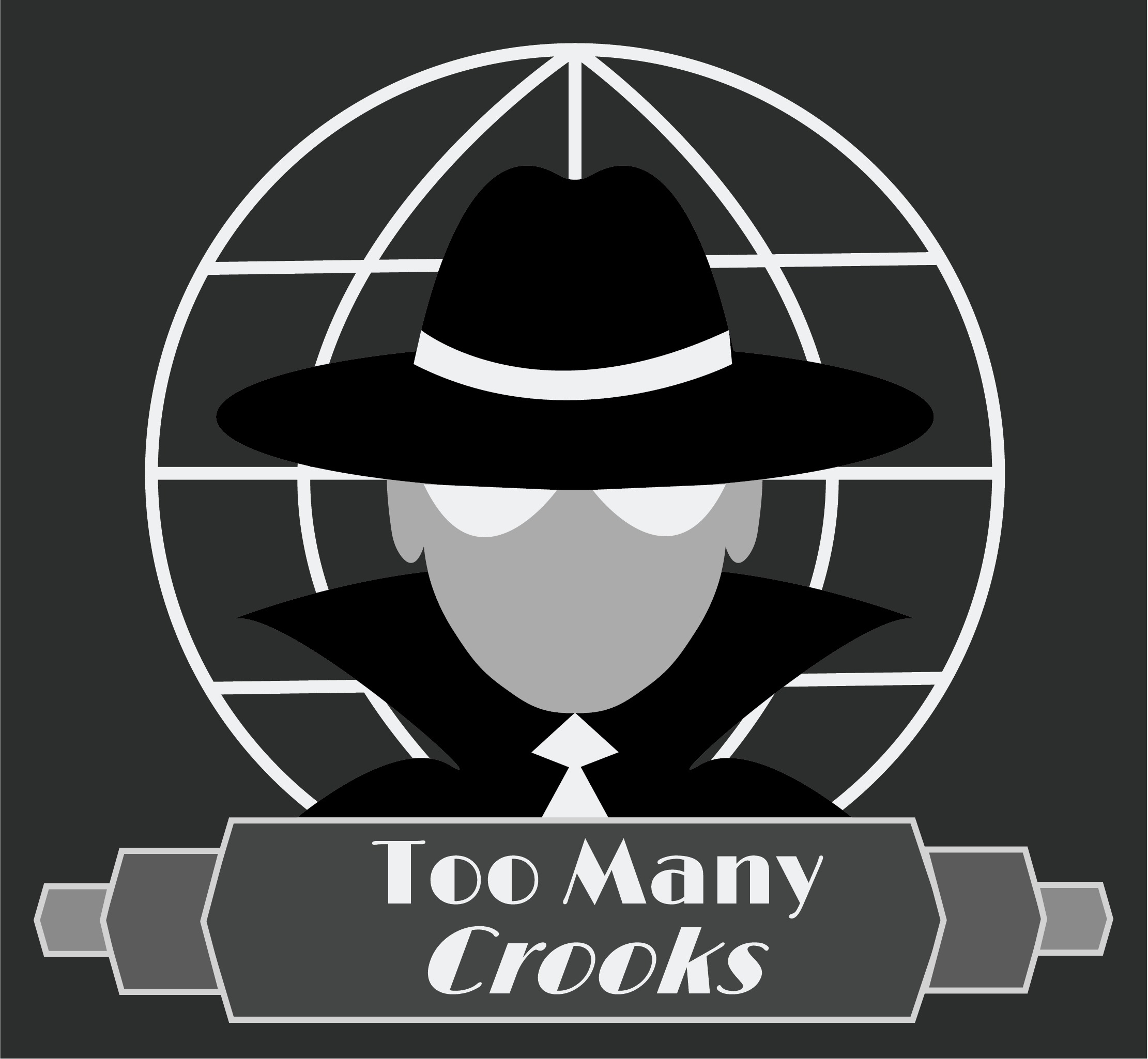 Too Many Crooks logo, featuring gang boss bust with fedora brim pulled low.